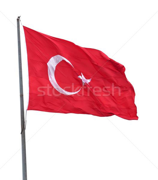 Turks vlag vlaggestok wind geïsoleerd Stockfoto © BSANI