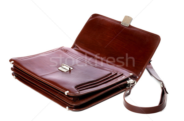 Open leather briefcase on white background Stock photo © BSANI