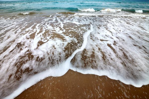 Deniz plaj dalgalar sonbahar geniş açı görmek Stok fotoğraf © BSANI