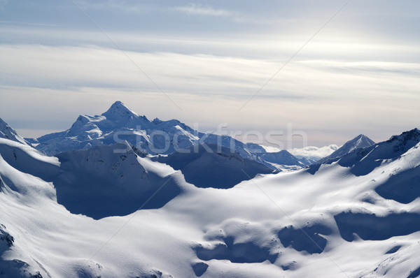 Kafkaslar dağlar görmek gökyüzü manzara kar Stok fotoğraf © BSANI