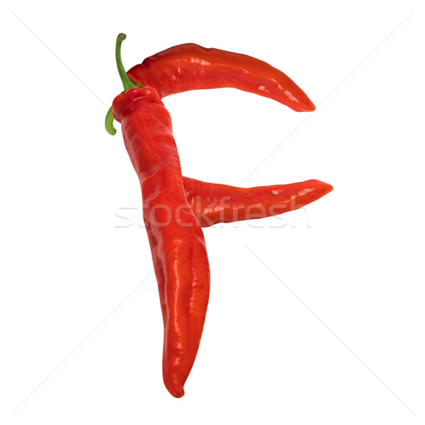 Stock photo: Letter F composed of red chili peppers