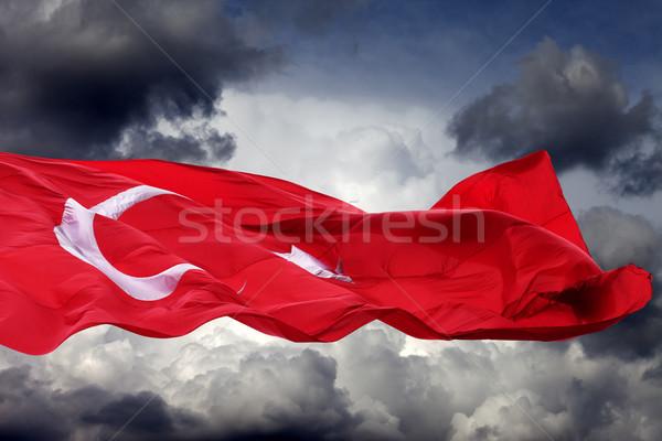 Integet zászló Törökország viharfelhők hold felirat Stock fotó © BSANI