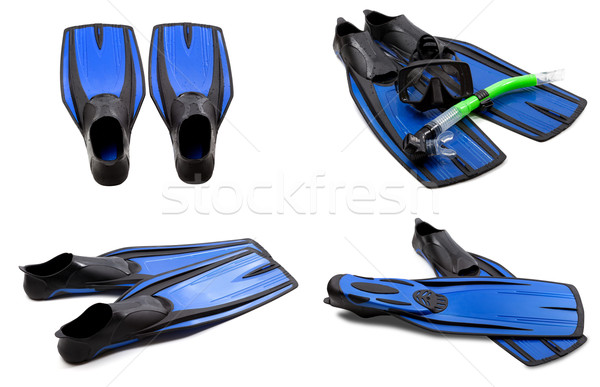 Set of blue swim fins, mask, snorkel for diving with water drops Stock photo © BSANI