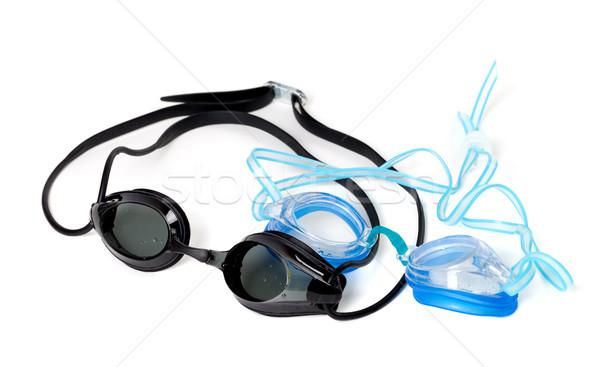 Azul negro gafas de protección natación aislado blanco Foto stock © BSANI