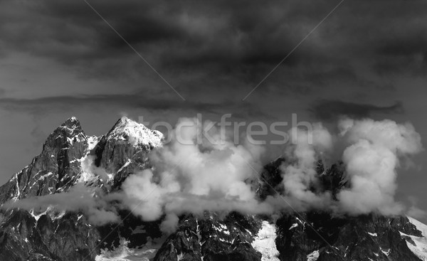 Black and white view on Mt. Ushba in clouds Stock photo © BSANI