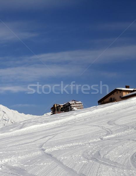 ホテル 冬 山 いい 日 ストックフォト © BSANI