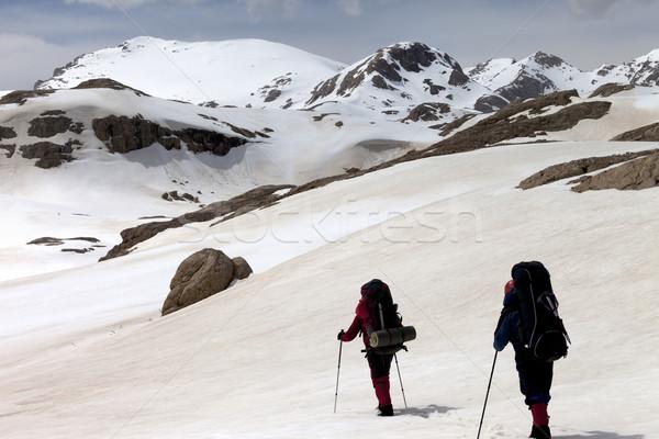 Kettő túrázók fennsík Törökország központi hegyek Stock fotó © BSANI