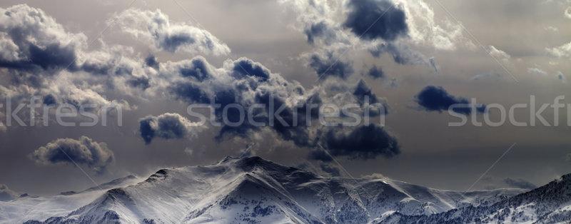 Panoramiczny widoku wieczór góry mętny niebo Zdjęcia stock © BSANI