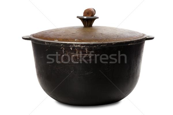 Old black dirty pot Stock photo © BSANI