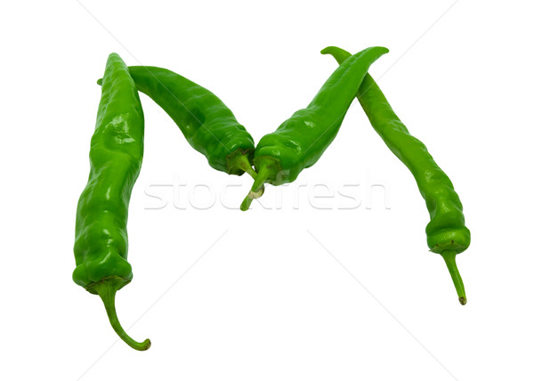 Letter M composed of green peppers Stock photo © BSANI