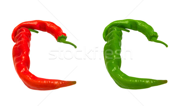 Letters C composed of green and red chili peppers Stock photo © BSANI