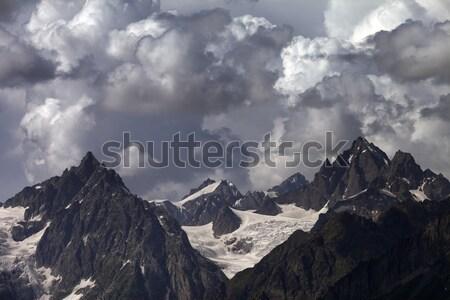Panorama mętny góry kaukaz Gruzja trawy Zdjęcia stock © BSANI