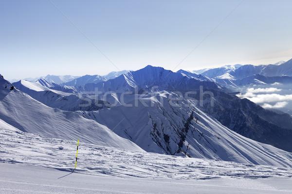 Sípálya hegyek pára Grúzia sí üdülőhely Stock fotó © BSANI