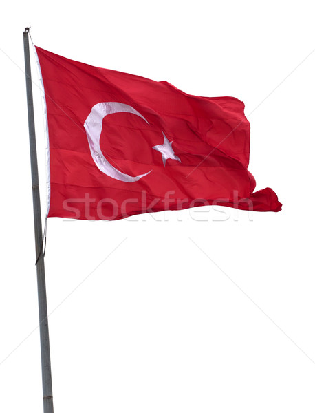 турецкий флаг флагшток ветер изолированный Сток-фото © BSANI