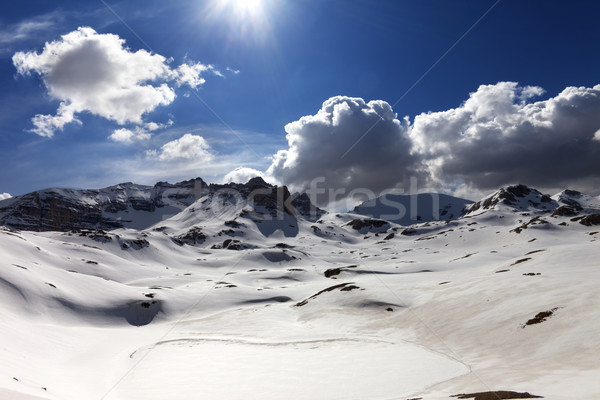 Plateau and lake covered snow Stock photo © BSANI