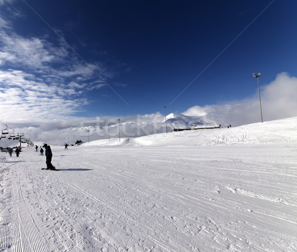 Ski slope at sun wind day Stock photo © BSANI