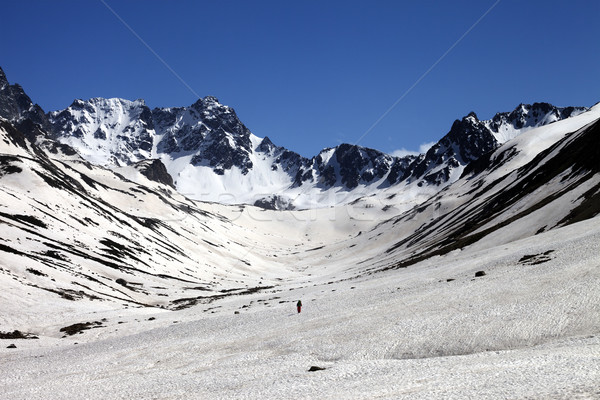 Hiker in snowy mountains at nice day Stock photo © BSANI