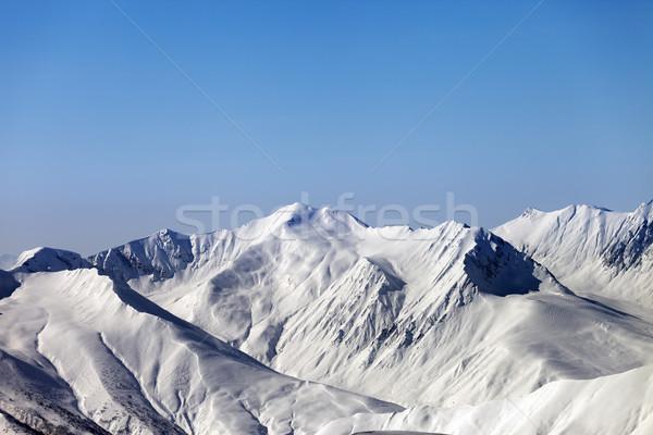 Dağlar mavi açık gökyüzü kafkaslar Georgia bölge Stok fotoğraf © BSANI