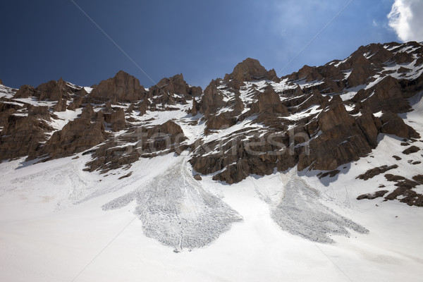 Snowy rocks and trace from avalanche Stock photo © BSANI