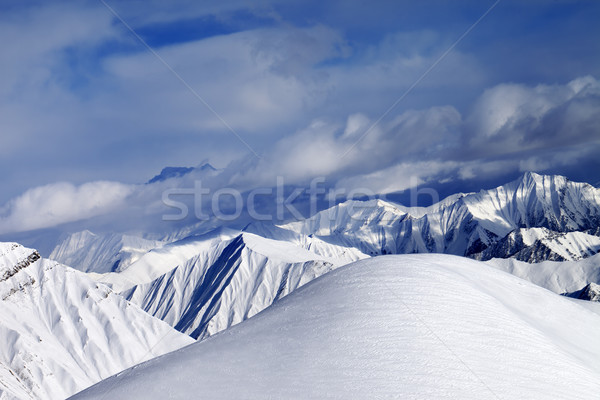 Pente nuageux montagnes caucase Géorgie ski Photo stock © BSANI