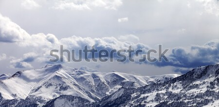 Panoramic view on mountains in evening and cloudy sky Stock photo © BSANI