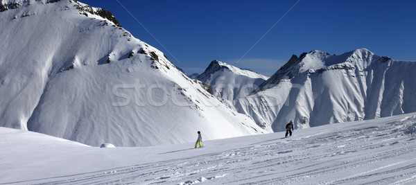 Panoramic view of snowboarders downhill on off piste slope after Stock photo © BSANI