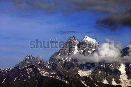 Kafkaslar dağlar Georgia bulutlar çim spor Stok fotoğraf © BSANI