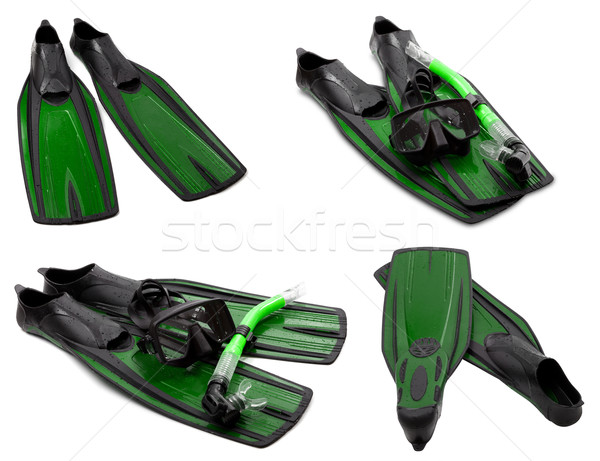 Set of green flippers, mask, snorkel for diving with water drops Stock photo © BSANI