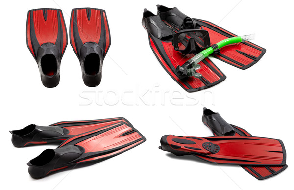 Set of red swim fins, mask, snorkel for diving with water drops Stock photo © BSANI
