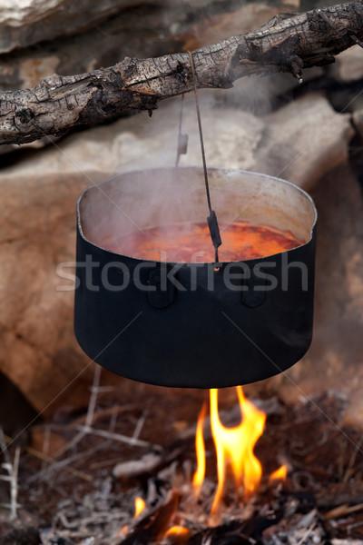 Pot çorba pişirme kamp ateşi geleneksel gıda Stok fotoğraf © BSANI