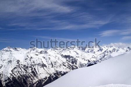 Kafkaslar dağlar görmek manzara kış mavi Stok fotoğraf © BSANI