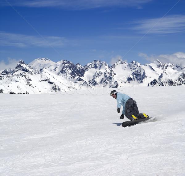 Snowboarder caucaso montagna natura montagna Foto d'archivio © BSANI
