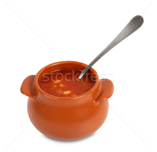 Soup in clay pot Stock photo © BSANI