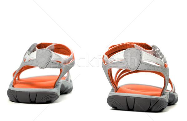 Stockfoto: Zomer · sandalen · achteraanzicht · geïsoleerd · witte · strand