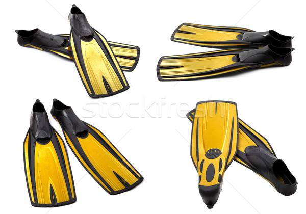 Ingesteld Geel zwemmen duiken geïsoleerd witte Stockfoto © BSANI