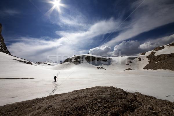 Hiker on snow plateau Stock photo © BSANI