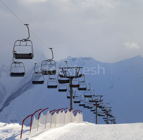 Snow skiing piste and ropeway Stock photo © BSANI