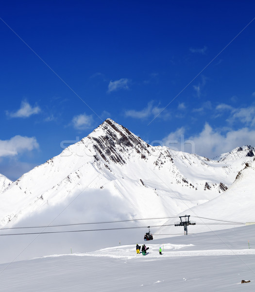Stock photo: Ski resort at nice sun day after snowfall
