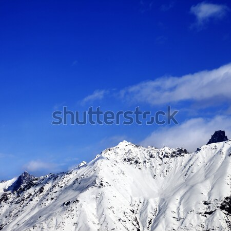 Panoramic view on snow mountains in sunny day Stock photo © BSANI
