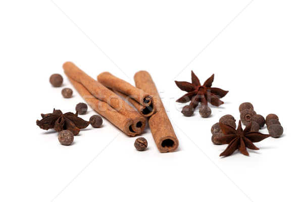 Black peppercorns, anise stars and cinnamon sticks Stock photo © BSANI