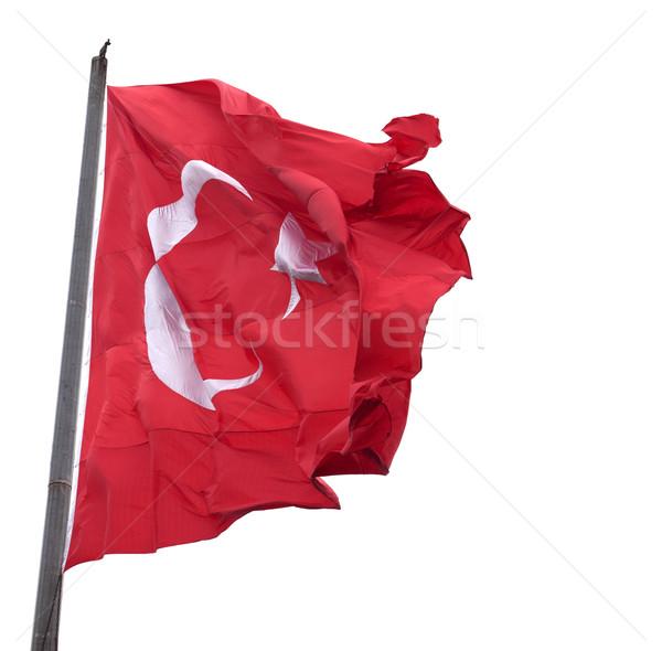 флаг Турция флагшток изолированный белый Сток-фото © BSANI