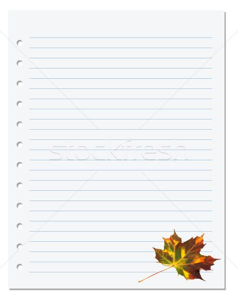 ноутбук бумаги осень Maple Leaf белый Снова в школу Сток-фото © BSANI