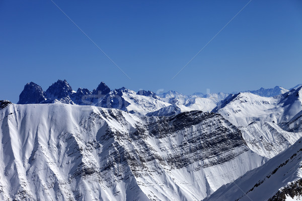 Snowy winter mountains in nice sun day Stock photo © BSANI
