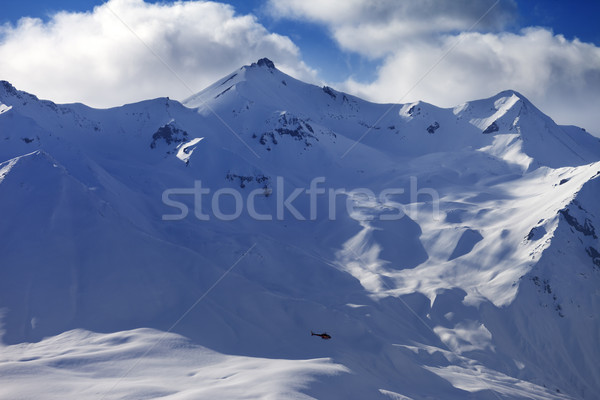 Off piste slope for heliskiing and helicopter Stock photo © BSANI