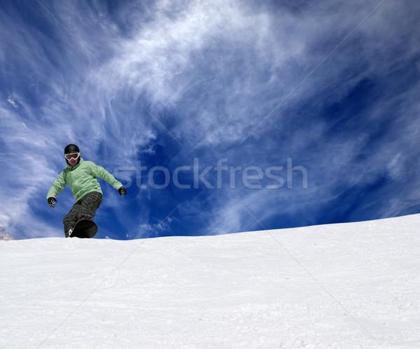 スノーボーダー スロープ 青空 雲 自然 冬 ストックフォト © BSANI