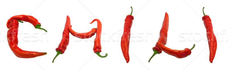 CHILI text composed of chili peppers Stock photo © BSANI