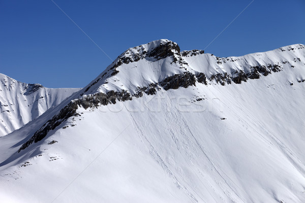 Stock photo: Off piste slope with traces of avalanches