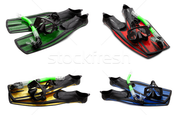 Set of multicolor swim fins, mask and snorkel for diving on whit Stock photo © BSANI