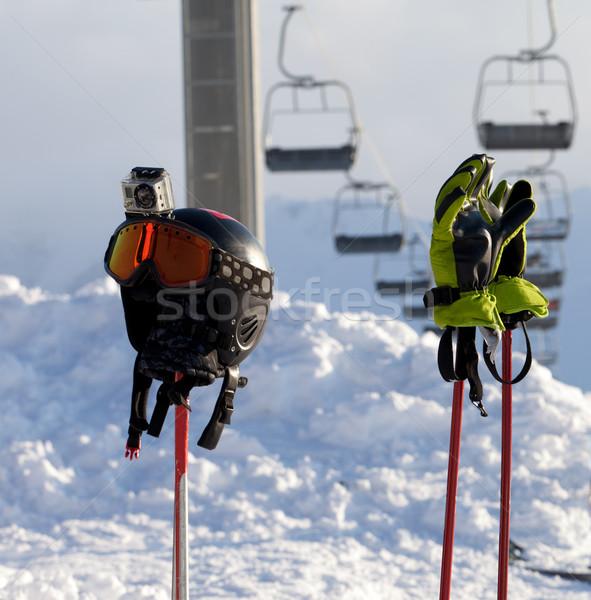 Sportfelszerelés sí üdülőhely napos idő Kaukázus hegyek Stock fotó © BSANI