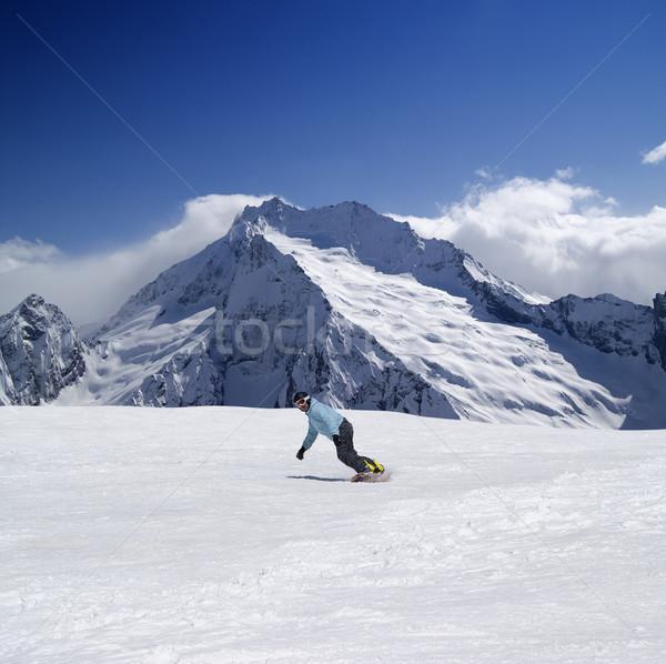 Snowboarder alto montagna caucaso natura montagna Foto d'archivio © BSANI